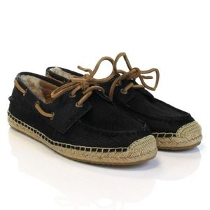UGG Black Calf Hair Espadrille Lace-Up Loafers